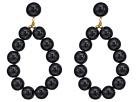 Kenneth Jay Lane Gold w/ Black Balls Hoop Pierced Earrings