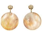 Kenneth Jay Lane Round Wavy Shell Disc Pierced Earrings