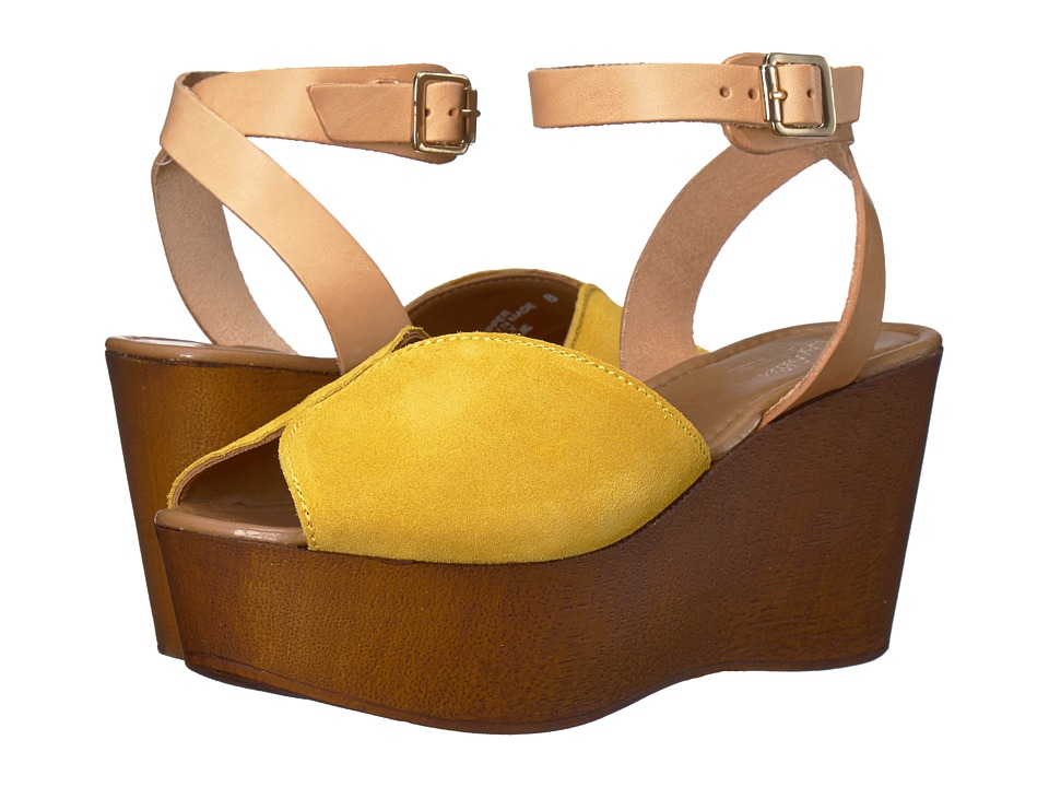 Vintage Style Shoes, Vintage Inspired Shoes Seychelles - Laugh More Yellow Suede Womens Wedge Shoes $99.95 AT vintagedancer.com