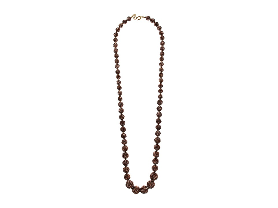 Kenneth Jay Lane Bronze Pave Graduated Bead Necklace (Bro...