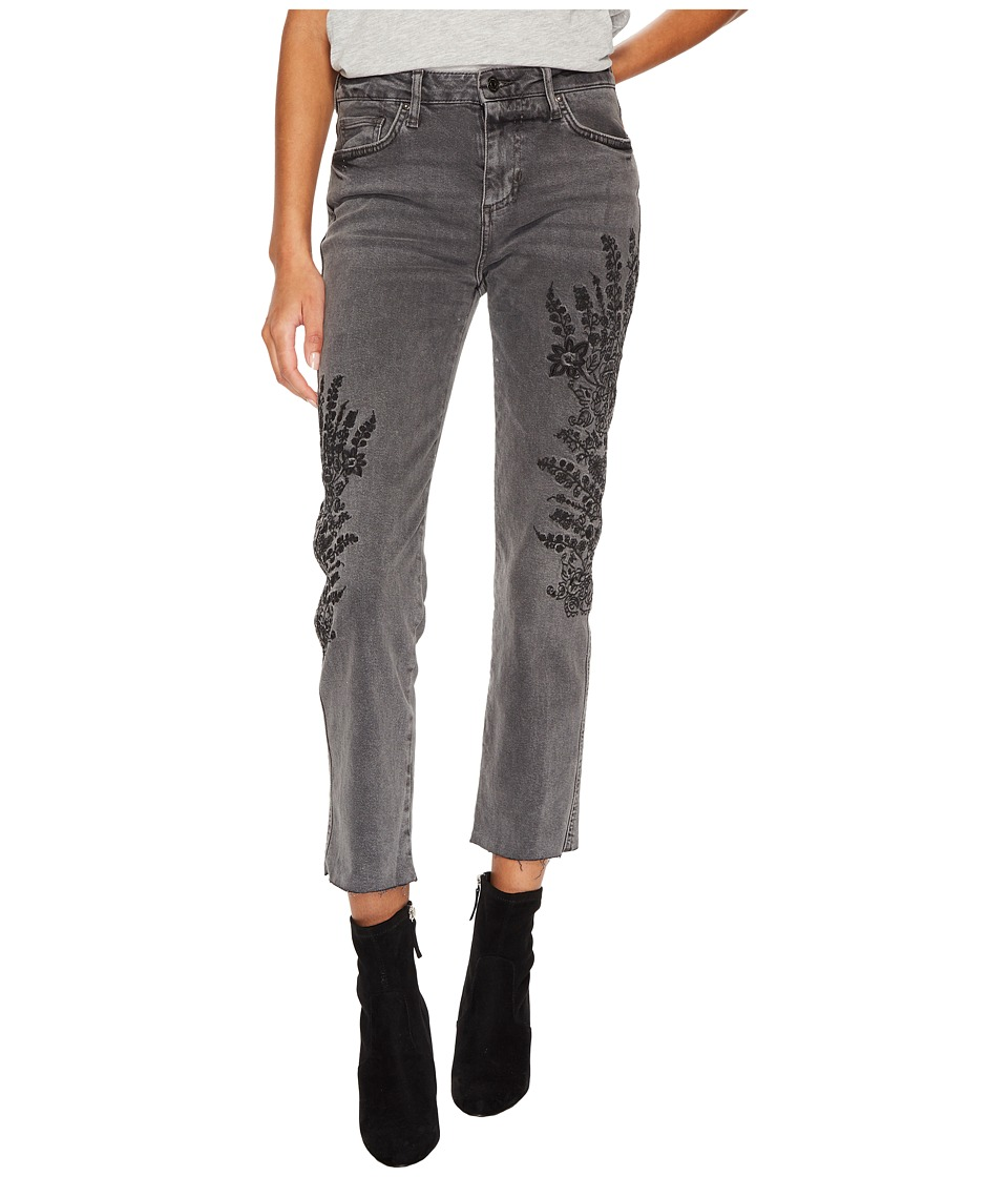 Free People Embroidered Girlfriend Jeans (Grey) Women