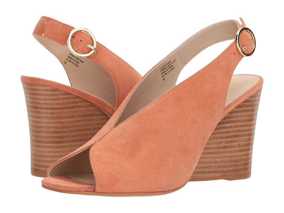 Vintage Style Shoes, Vintage Inspired Shoes Seychelles - Dazzling Peach Suede Womens Wedge Shoes $119.95 AT vintagedancer.com