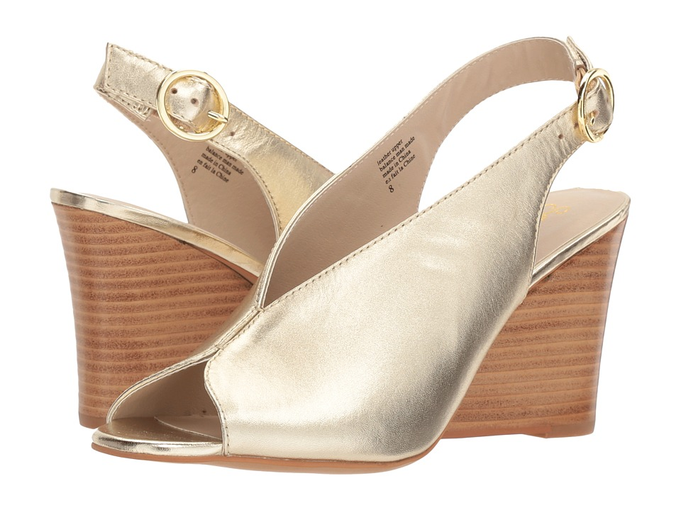 Vintage Style Shoes, Vintage Inspired Shoes Seychelles - Dazzling Gold Leather Womens Wedge Shoes $119.95 AT vintagedancer.com