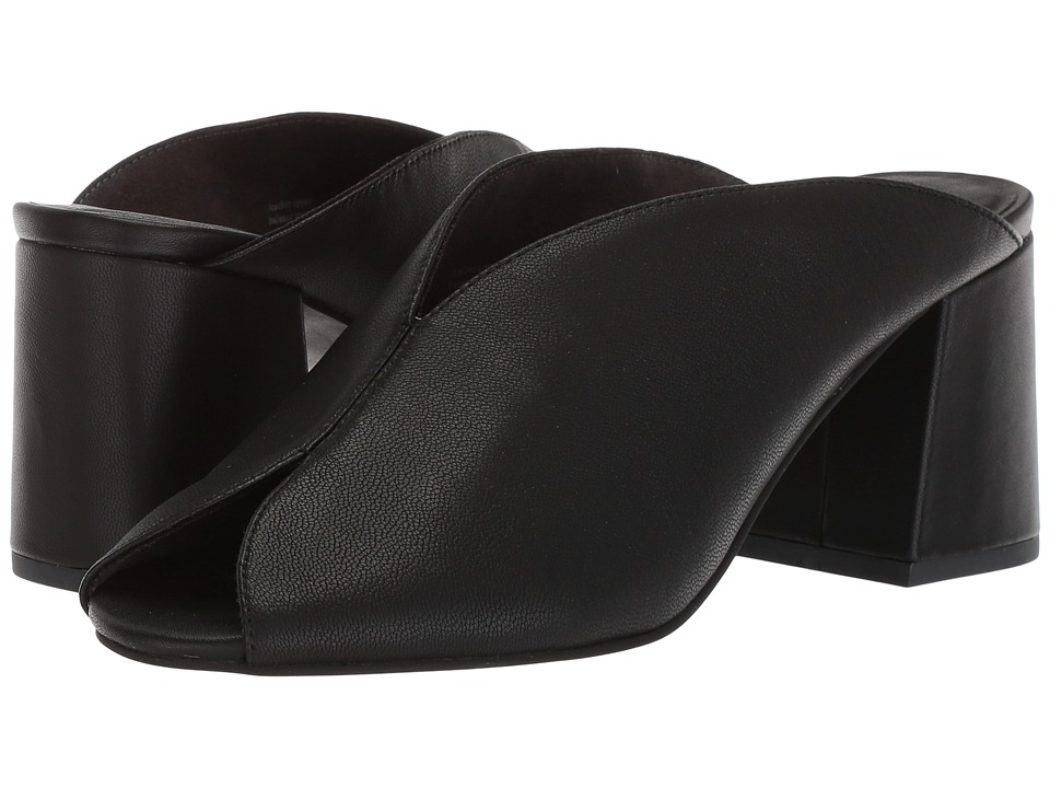 Seychelles - By the Beach Slide (Black Leather) Womens 1-2 inch heel Shoes