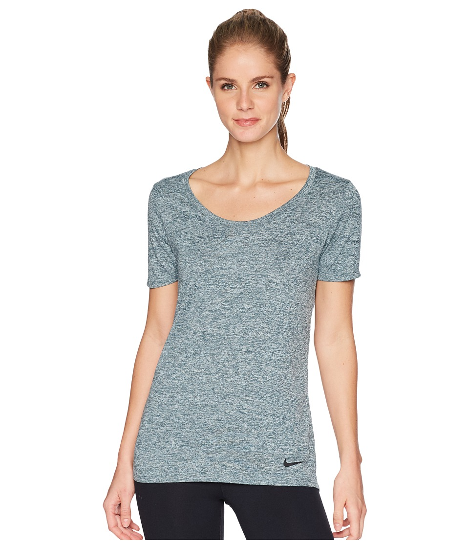 Nike - Dry Legend Cross-Dye Tee (Deep Jungle/Igloo/Black) Womens Short Sleeve Pullover