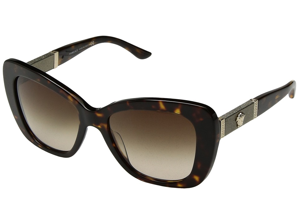 Versace - VE4305Q (Dark Havana/Brown Gradient) Fashion Sunglasses