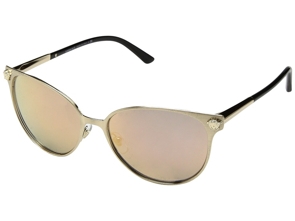 Versace - VE2168 (Brushed Pale Gold/Grey Mirror Rose Gold) Fashion Sunglasses
