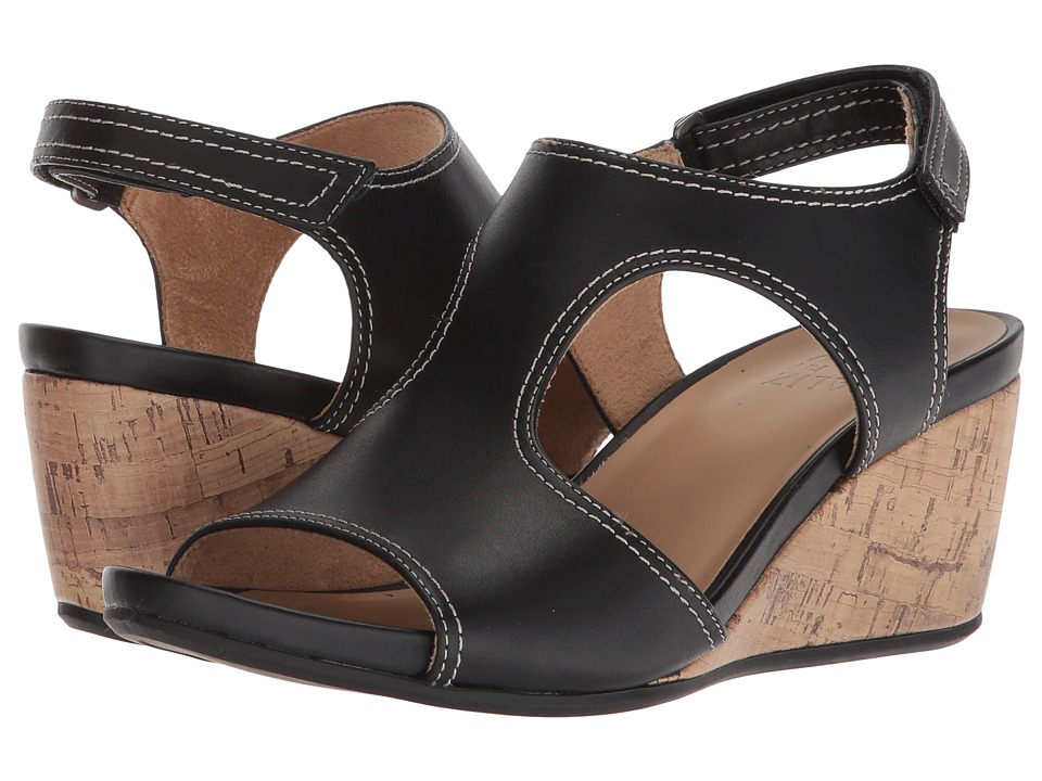 Naturalizer Cinda (Black Leather) Wedges