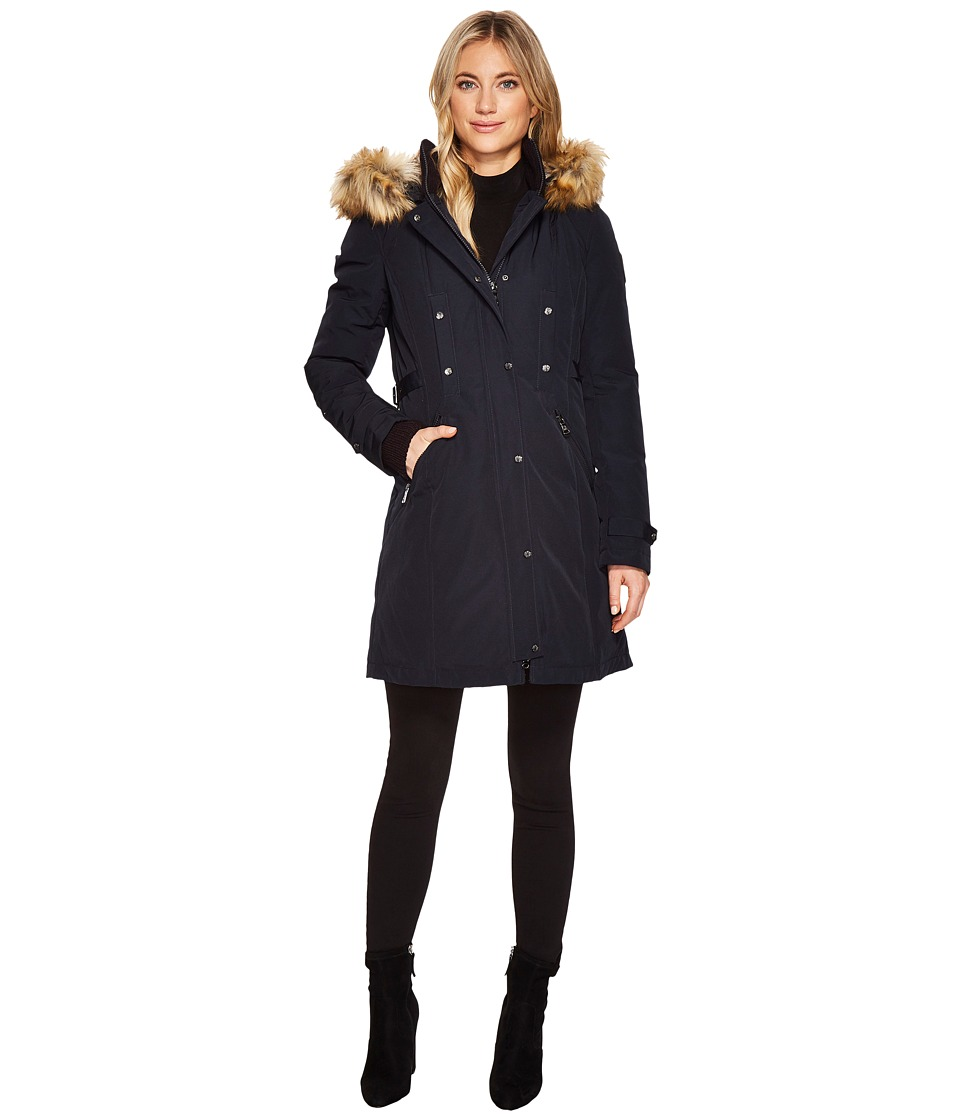 Vince Camuto Faux Fur Hooded Down with Cinch Waist N1721 (Navy) Women