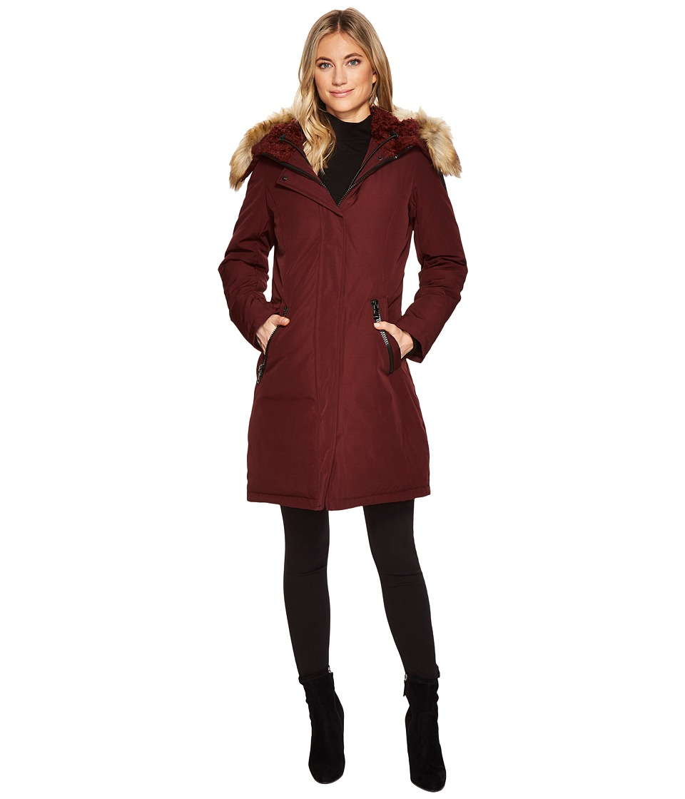 Vince Camuto Faux Fur and Sherpa Hooded Down N1661 (Burgundy) Women