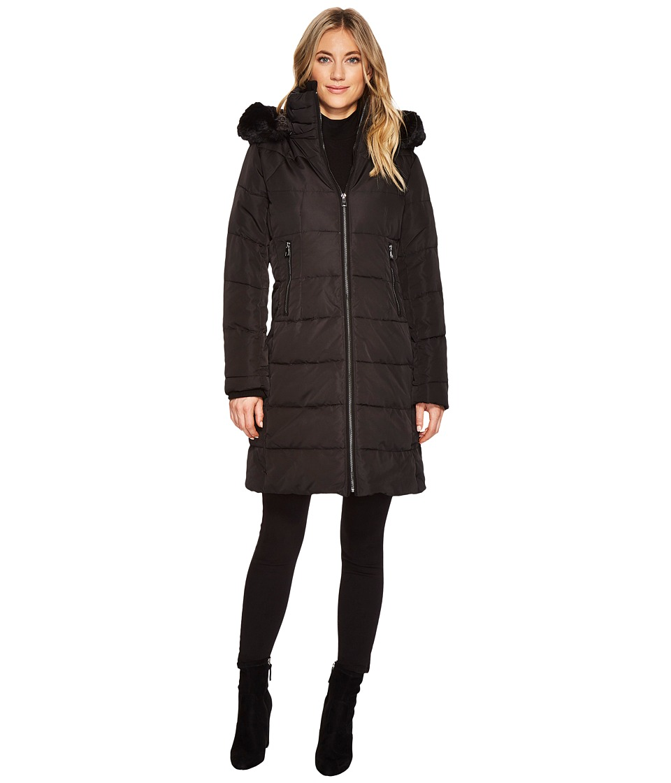 Vince Camuto Faux Fur Trim Hooded Down N1991 (Black) Women