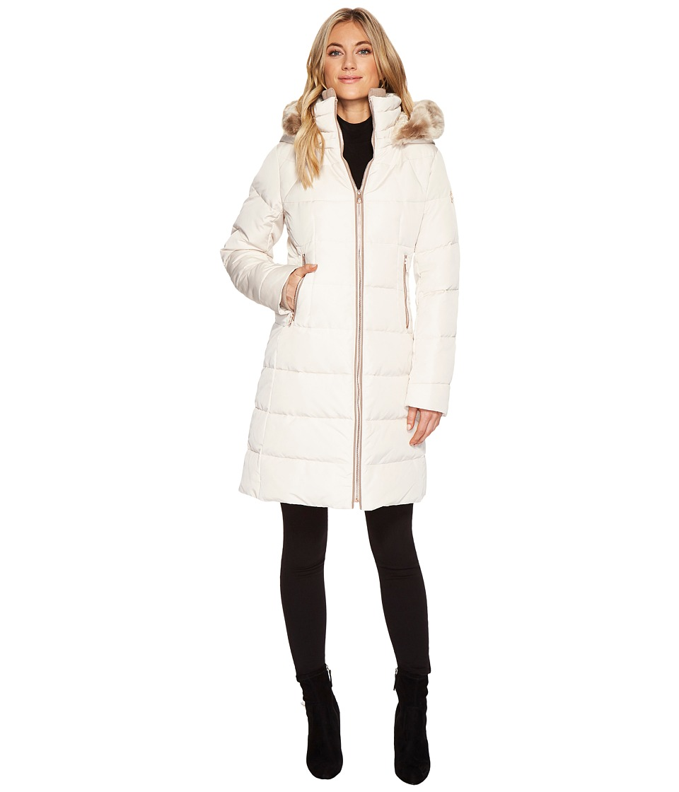 Vince Camuto Faux Fur Trim Hooded Down N1991 (Stone) Women
