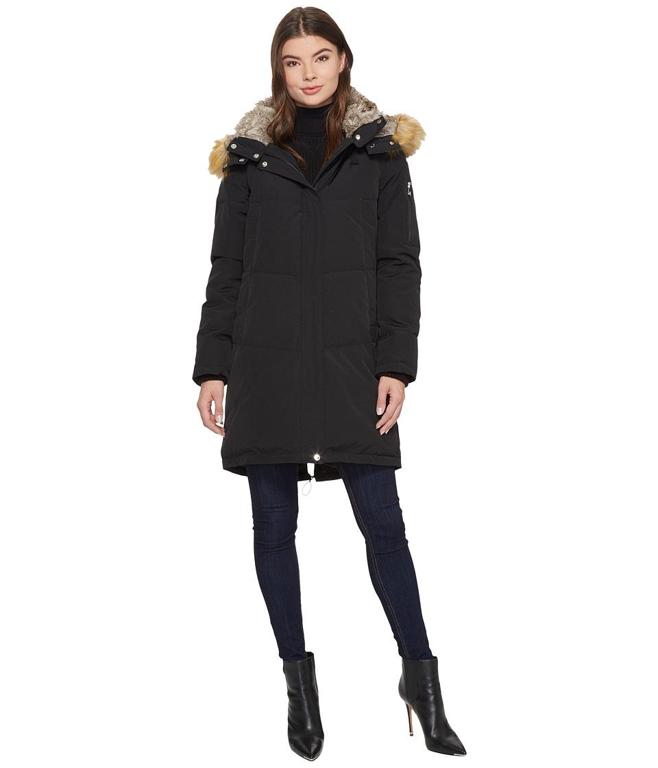 Vince Camuto Faux Fur Hooded Down N1011 (Black) Women