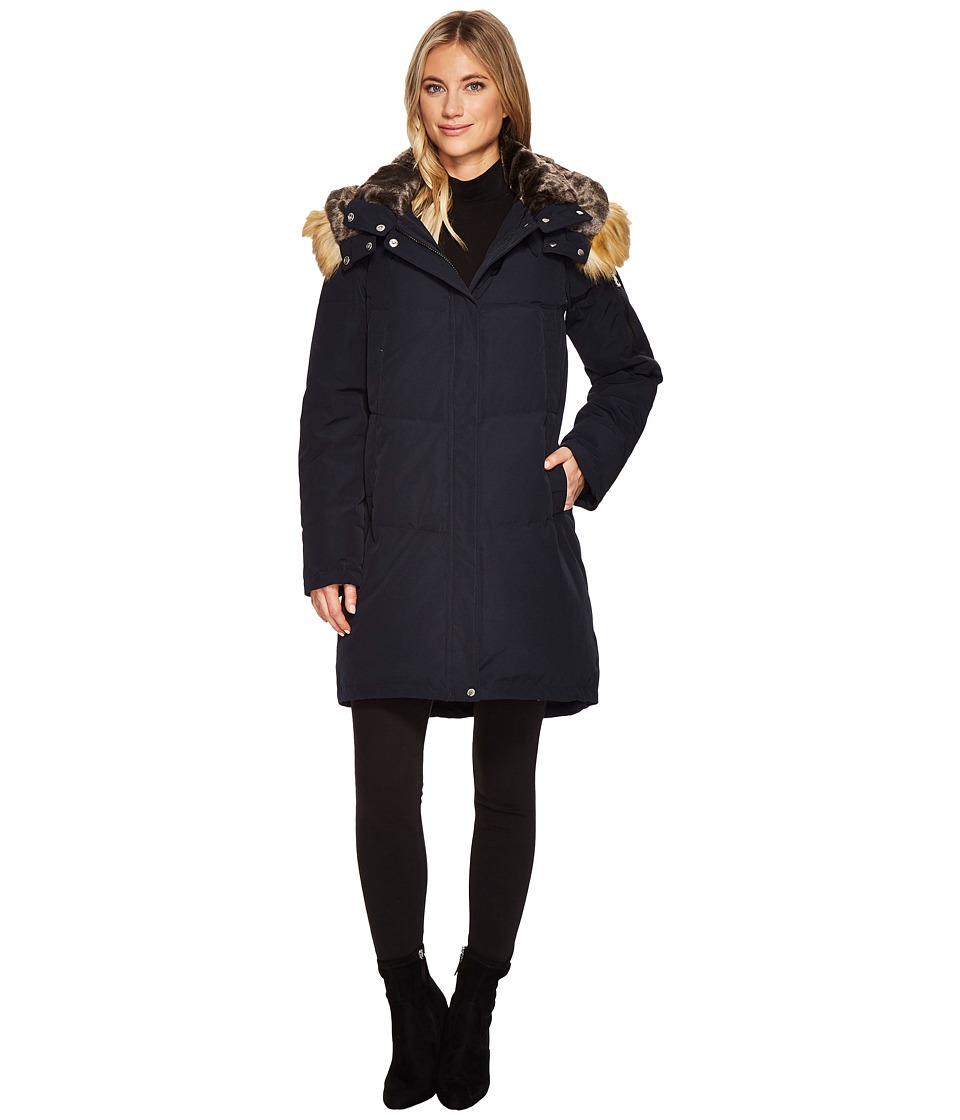 Vince Camuto Faux Fur Hooded Down N1011 (Navy) Women