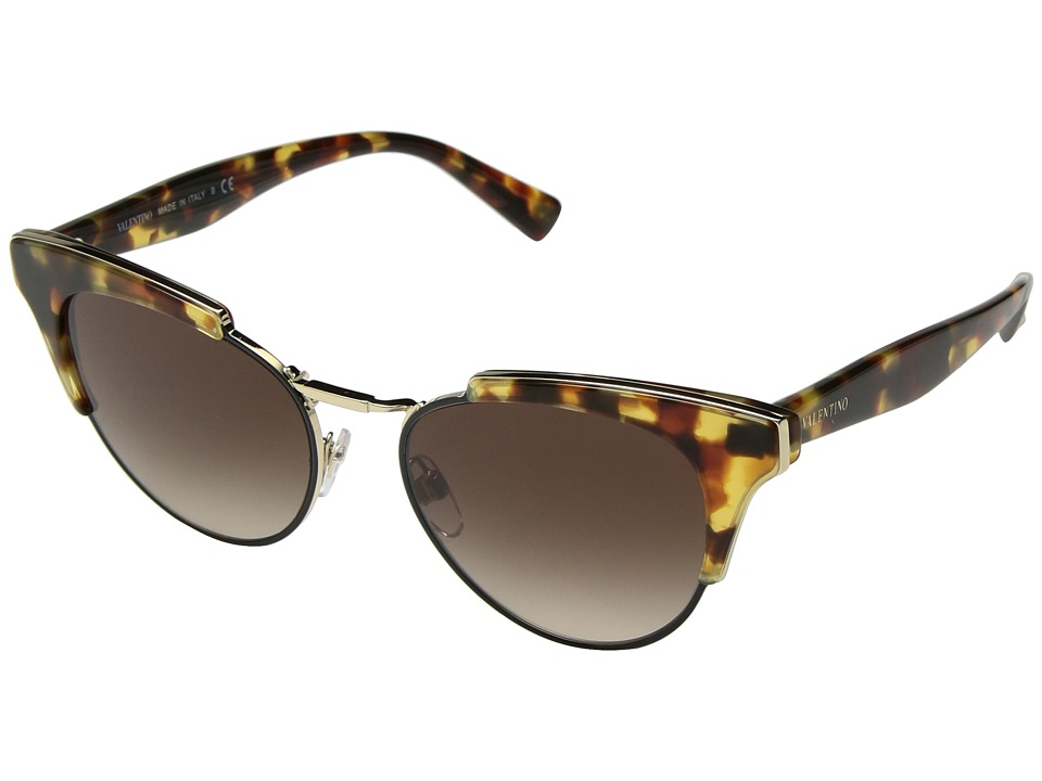 Valentino VA 4026 (Persimmon Cubed Havana/Light Gold/Brown Gradient) Fashion Sunglasses