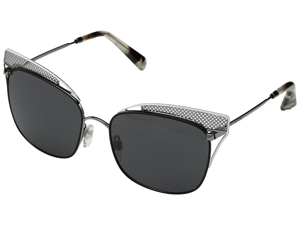 Valentino VA 2017 (Gunmetal/White Browbar/Grey) Fashion Sunglasses