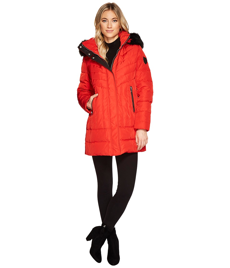 Vince Camuto Faux Fur Hooded Down N8491 (Red) Women