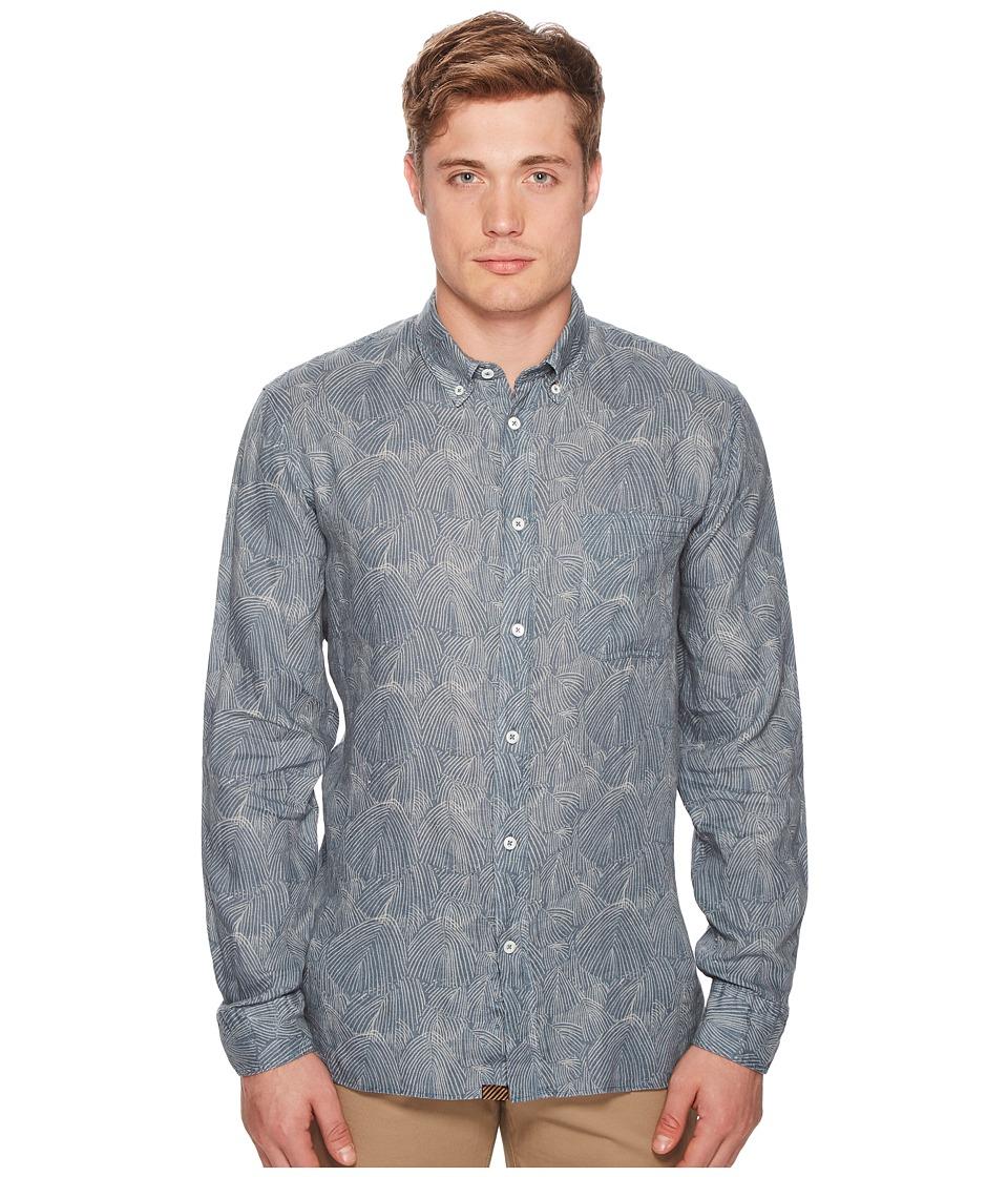 Image of Billy Reid - Tuscumbia Print Shirt (Teal) Men's Clothing