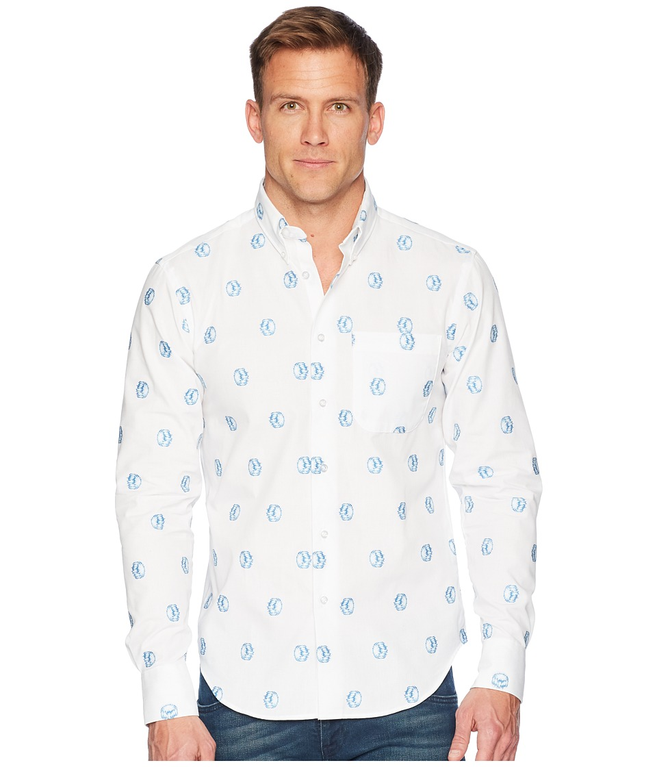 Naked & Famous - Limited Edition Hadouken Jacquard Shirt (White/Blue) Mens Clothing