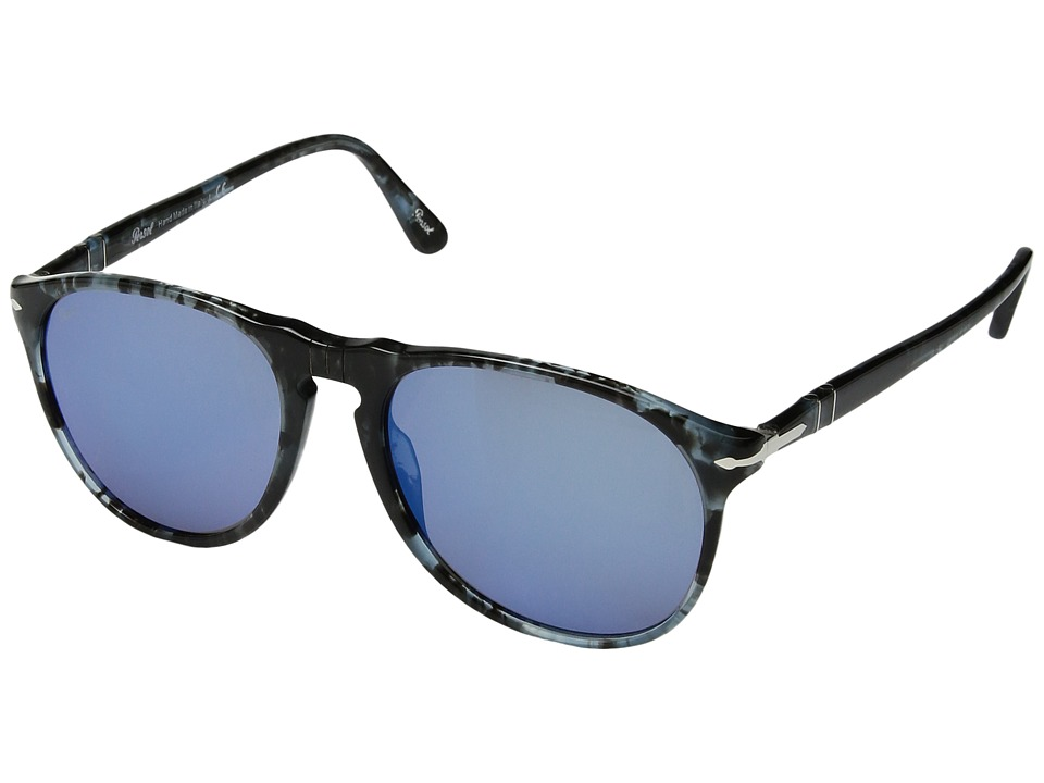 Persol - 0PO9649S (Spotted Blue Dark Grey/Grey Mirror Blue) Fashion Sunglasses