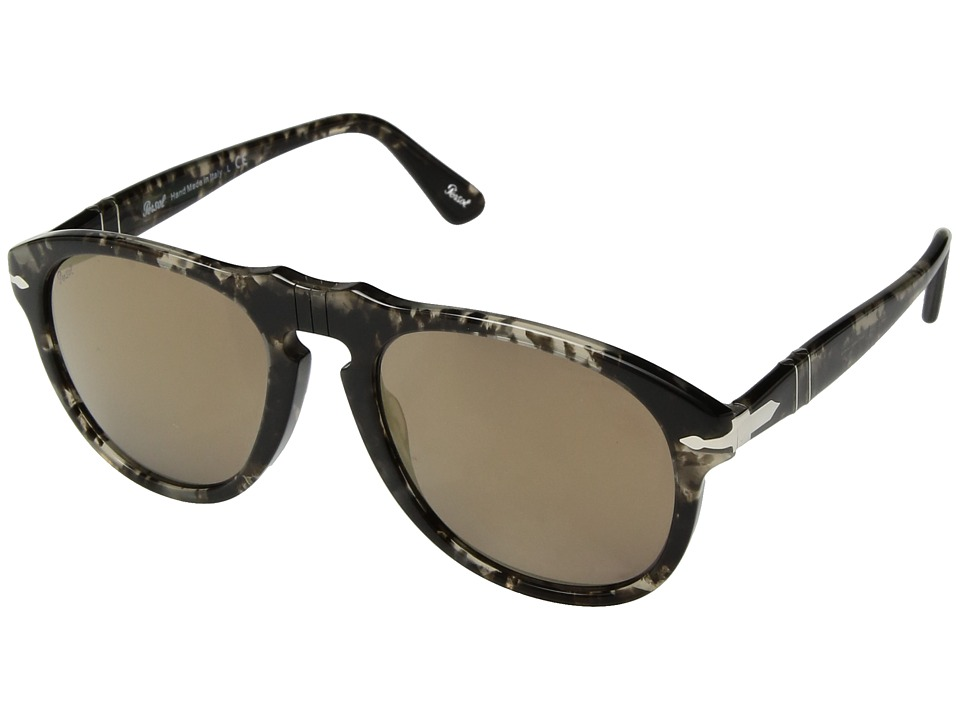 Persol - 0PO0649 (Spotted Grey Black/Light Brown Mirror Gold) Fashion Sunglasses