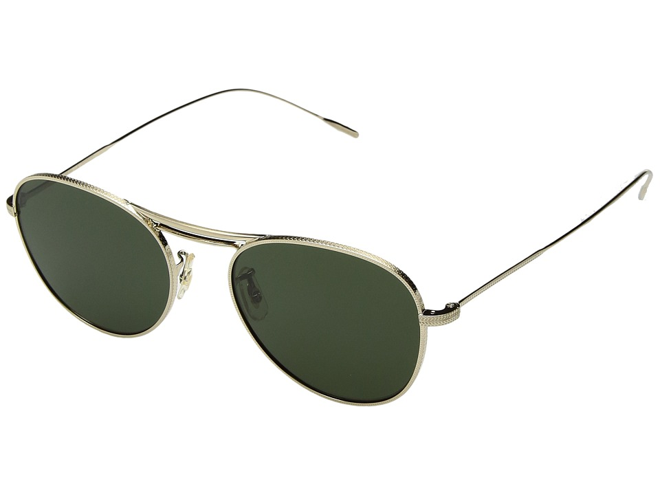 Oliver Peoples Cade (Brushed Gold/Green) Fashion Sunglasses
