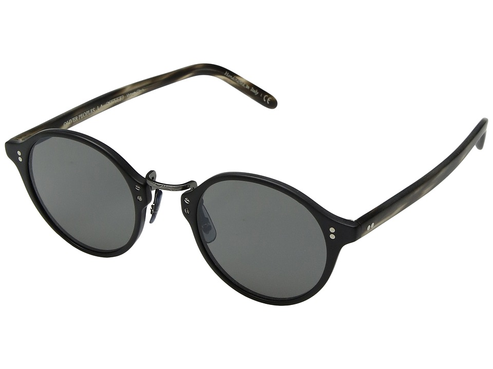 Oliver Peoples OP-1955 Sun (Semimatte Black/Semimatte Cinder Cocobolo/Antique Pewter) Fashion Sunglasses