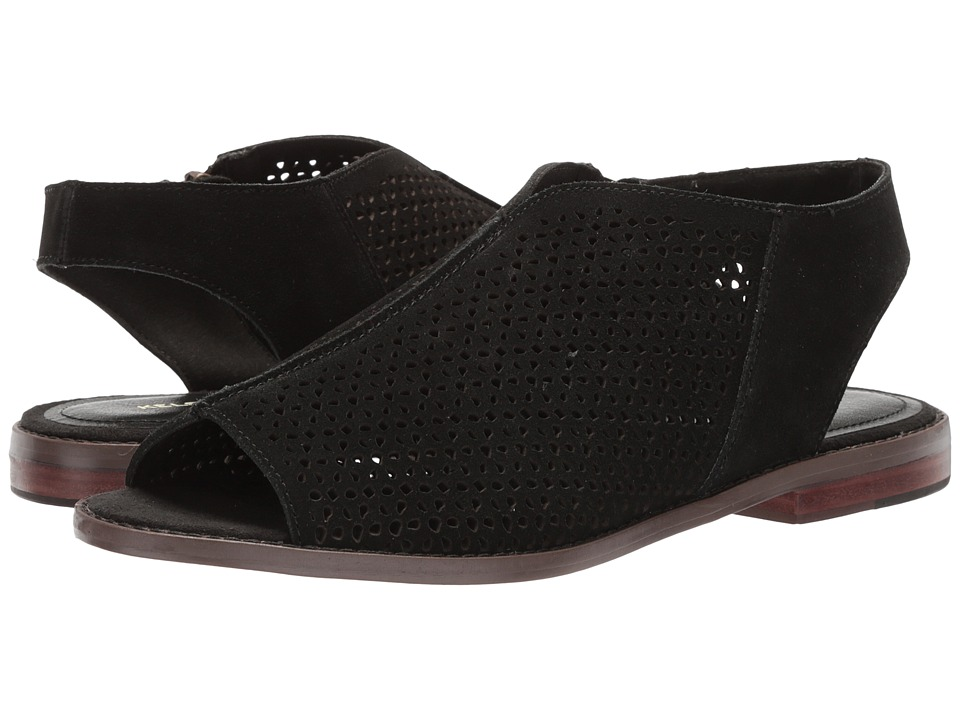 Kelsi Dagger Brooklyn - Seneca Flat Sandal (Black Cow Suede) Womens Shoes