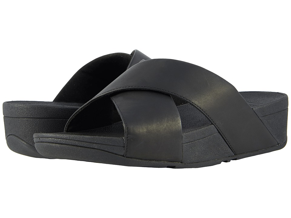FitFlop - Lulu Cross Slide Leather Sandal (Black) Womens Sandals