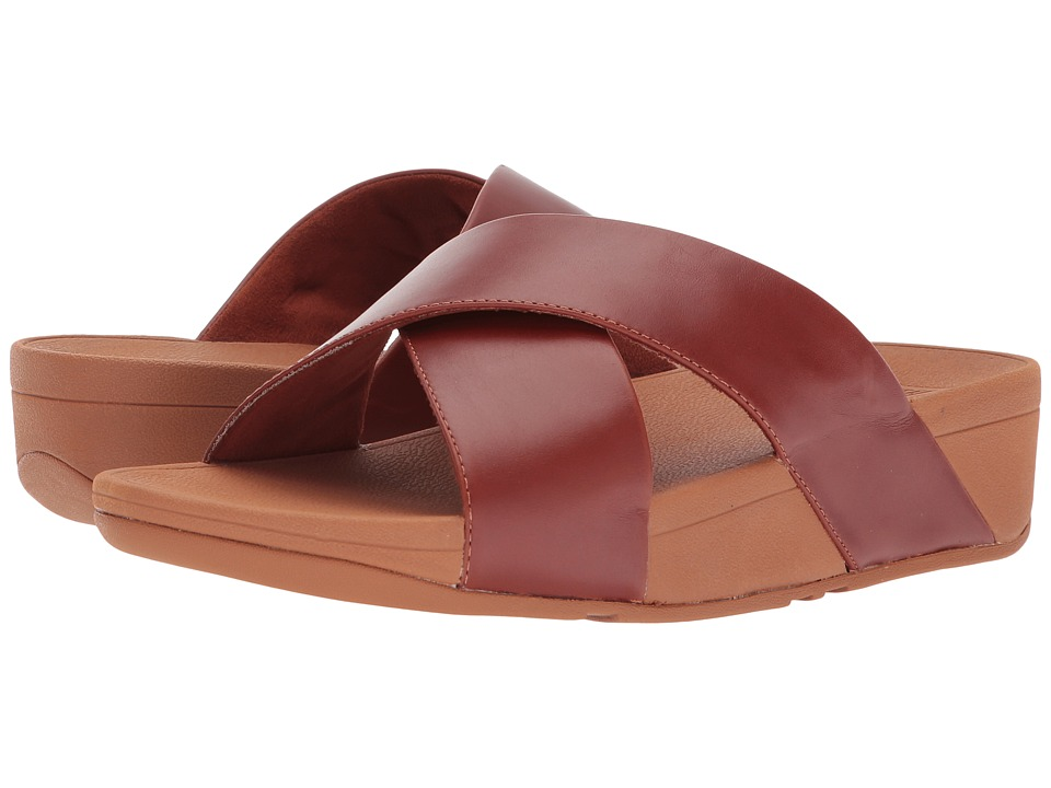 FitFlop - Lulu Cross Slide Leather Sandal (Cognac) Women's Sandals
