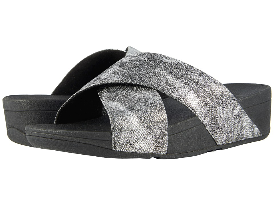 FitFlop - Lulu Cross Slide Shimmer Print Sandal (Black Shimmer Print) Womens Sandals