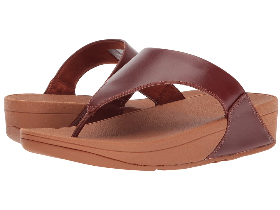 FitFlop - Lulu Leather Toe Post Sandal (Cognac) Womens Sandals