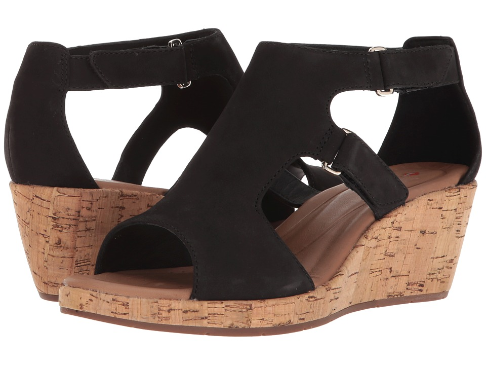 Clarks - Un Plaza Strap (Black Nubuck) Womens Sandals
