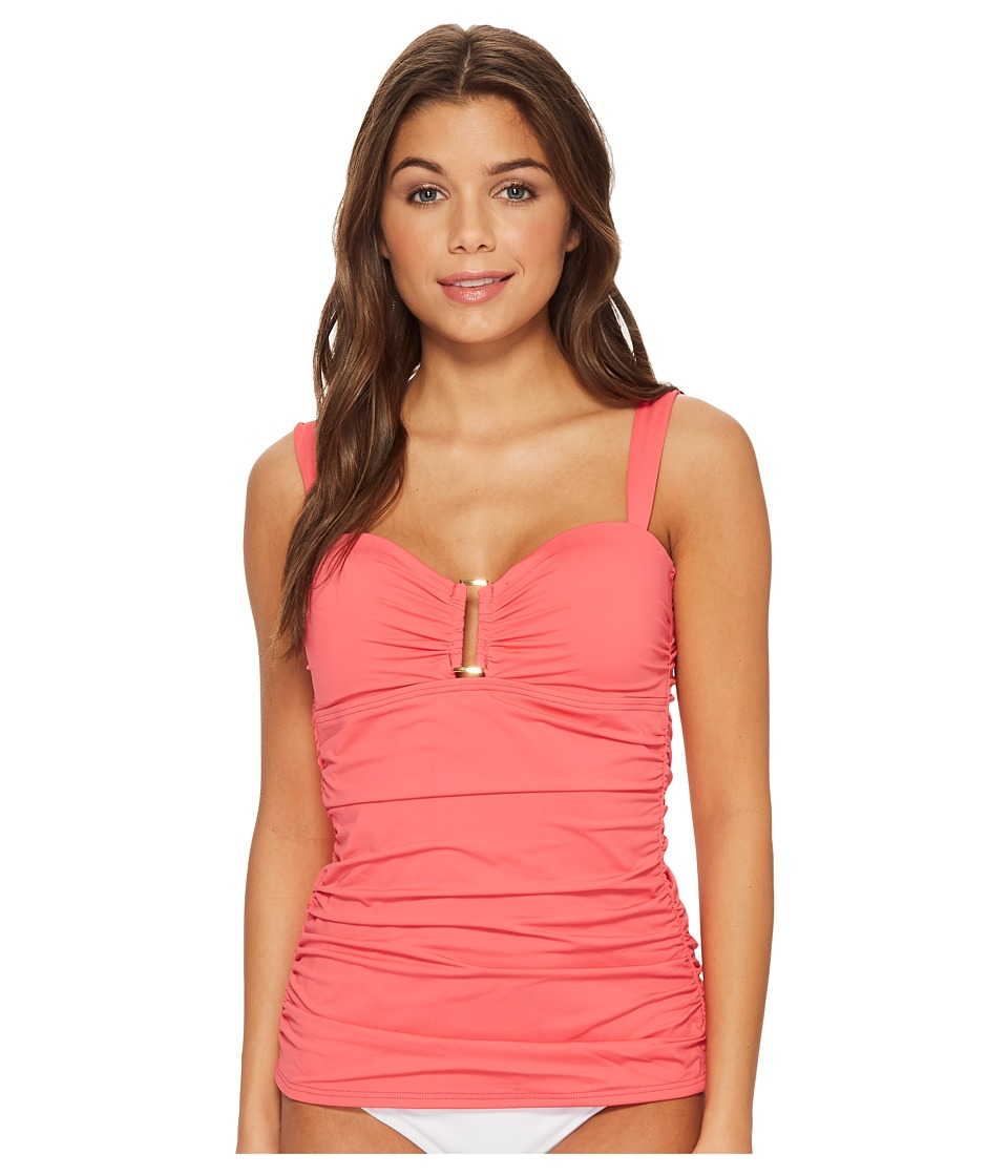 Tommy Bahama Pearl Over-The-Shoulder Shirred Tankini (Coral Glow)