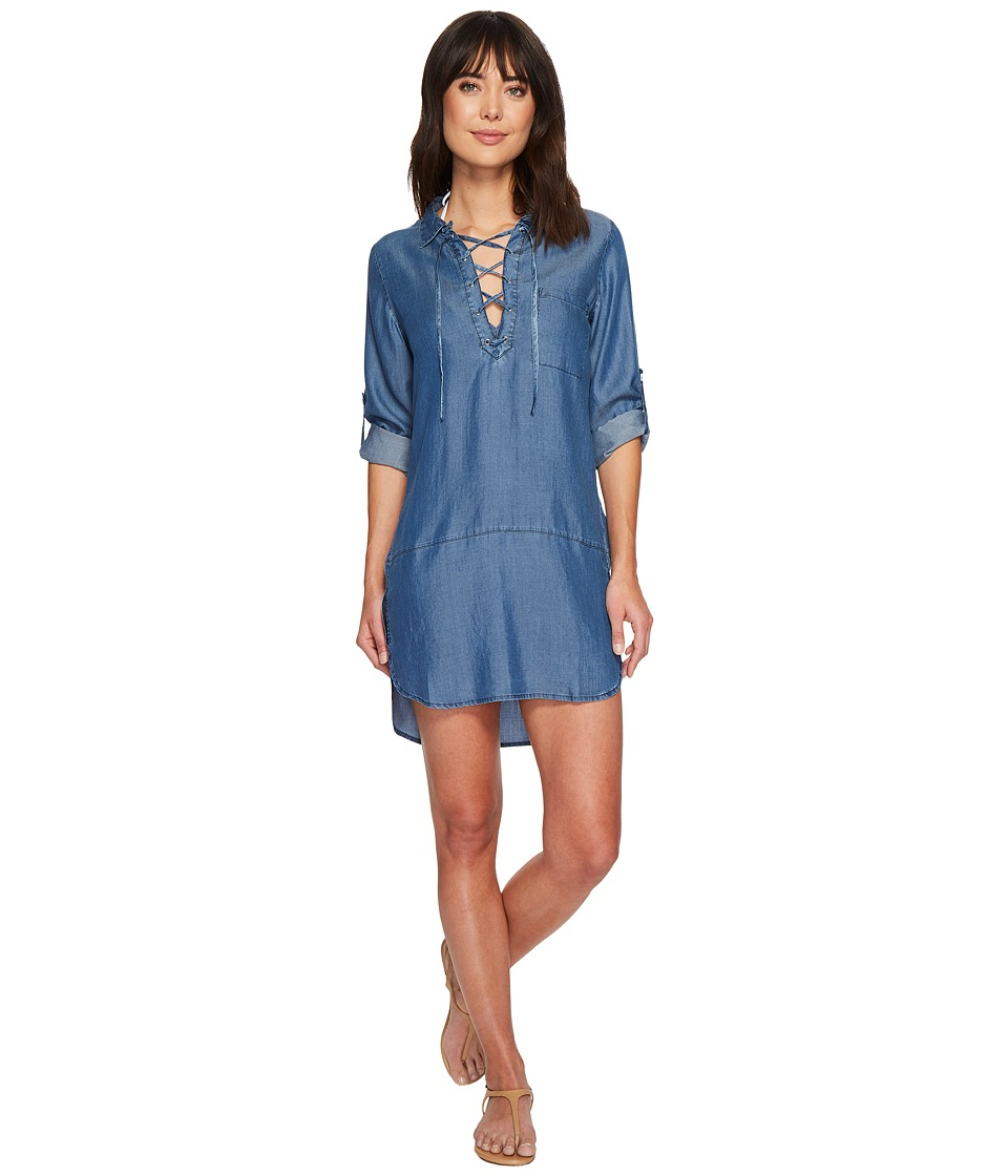 Tommy Bahama Chambray Lace-Up Boyfriend Shirt Cover-Up (Chambray)