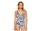 Tommy Bahama Paisley Paradise V-Neck One-Piece Swimsuit