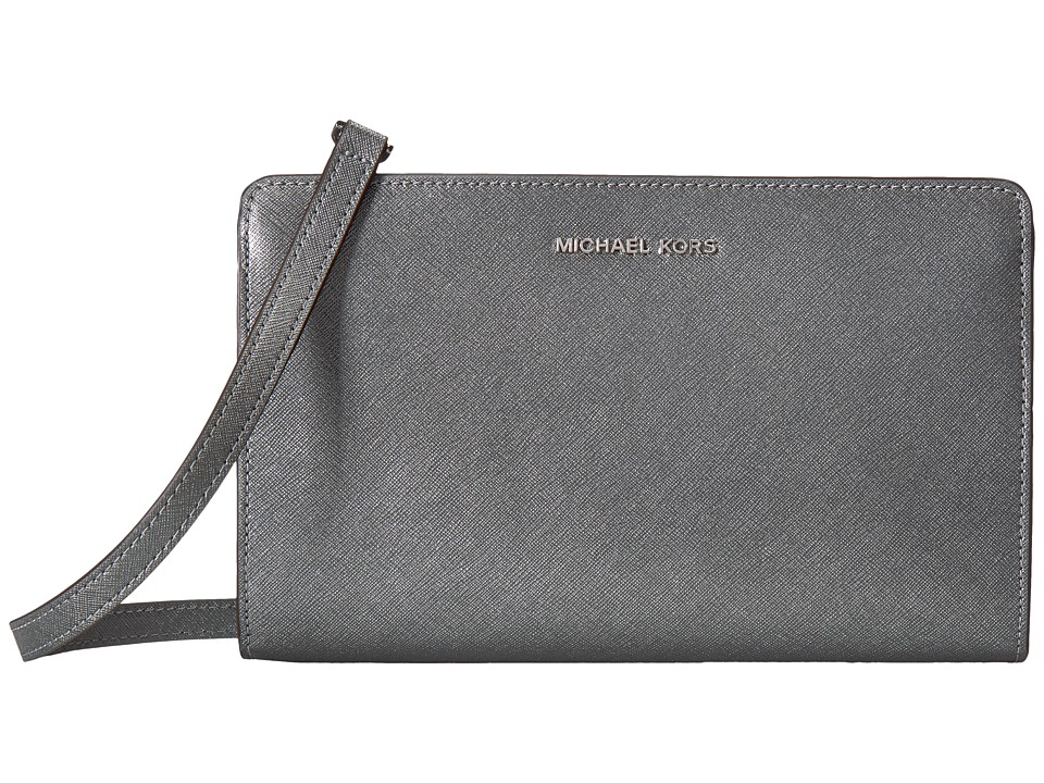 MICHAEL Michael Kors - Jet Set Travel Large Crossbody Clutch (Light Pewter) Clutch Handbags