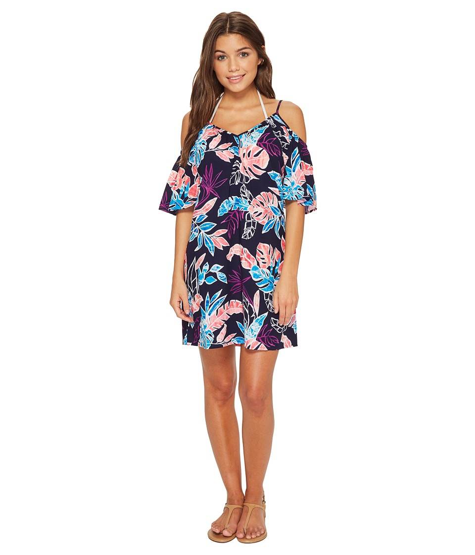 Tommy Bahama Graphic Tropics Cold-Shoulder Dress Cover-Up (Mare Navy)