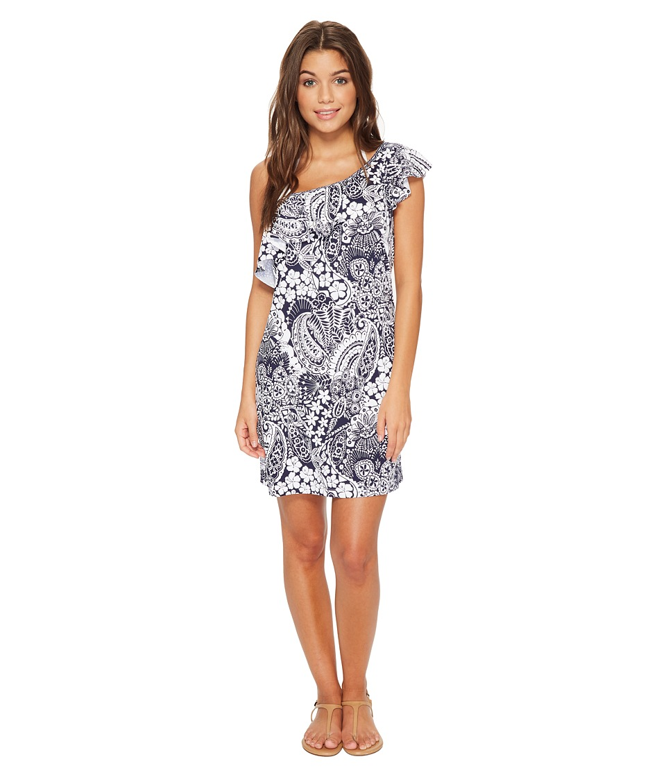 Tommy Bahama Paisley Paradise Off-The-Shoulder Swim Dress Cover-Up (Mare Navy)