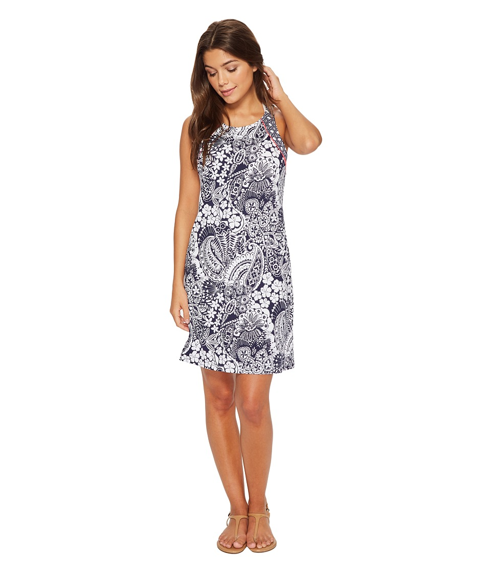 Tommy Bahama Paisley Paradise High Neck Halter Spa Dress Cover-Up (Mare Navy)