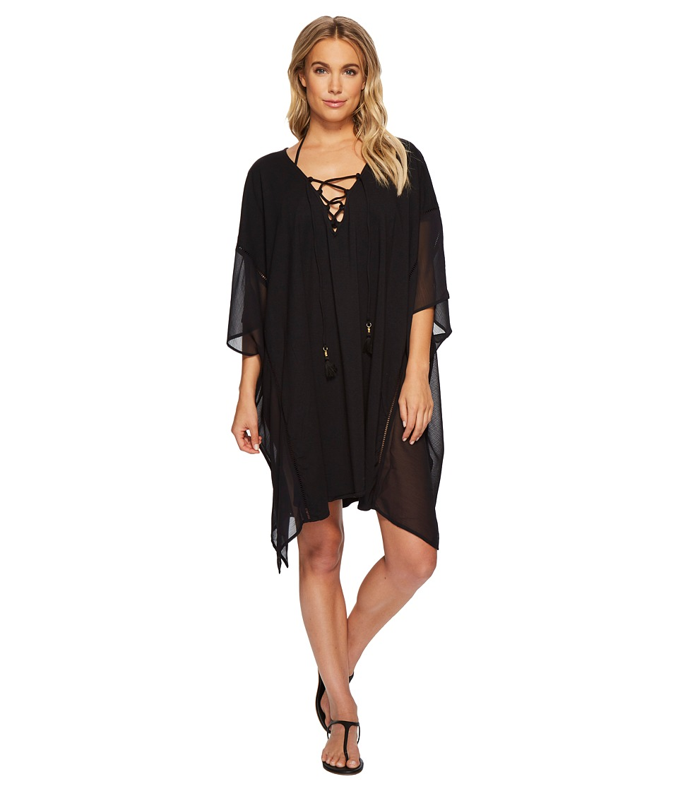Tommy Bahama Cotton Modal Lace-Up Tunic Cover-Up (Black)