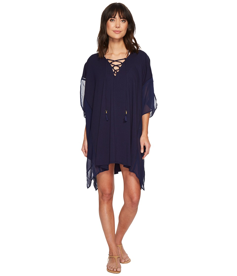 Tommy Bahama Cotton Modal Lace-Up Tunic Cover-Up (Mare Navy) Women