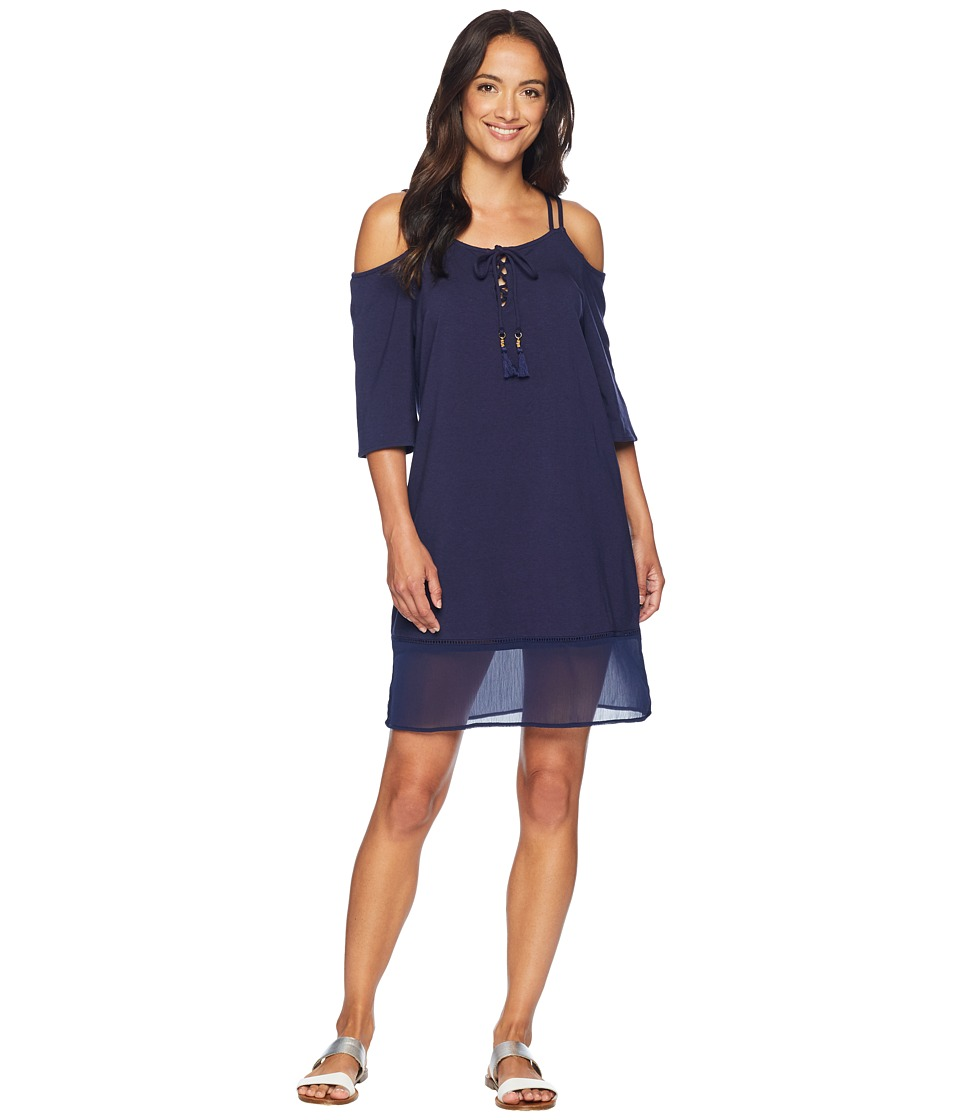 Tommy Bahama Cotton Modal Cold-Shoulder Dress Cover-Up (Mare Navy) Women