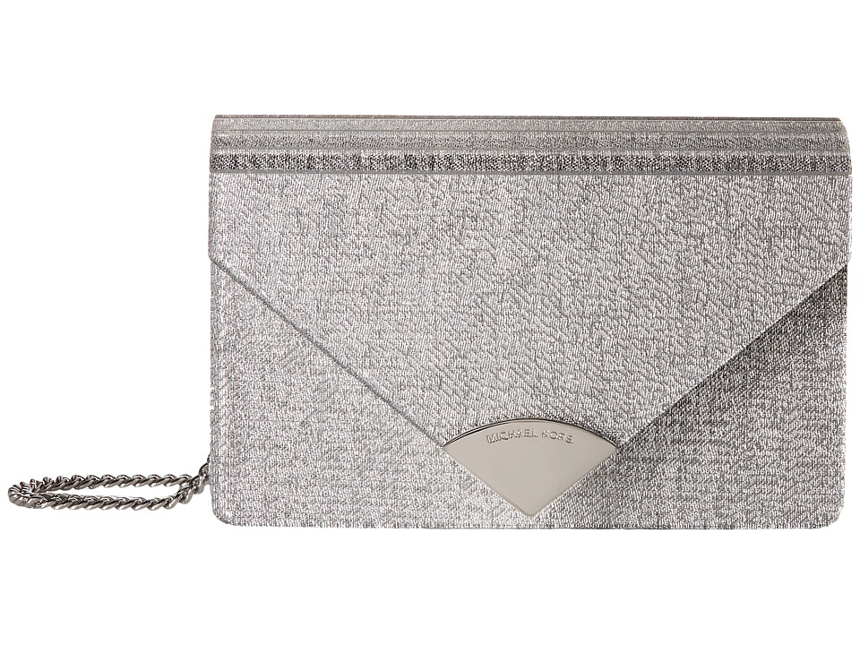 Michael Kors Barbara Medium Envelope Clutch (Silver) Clut...