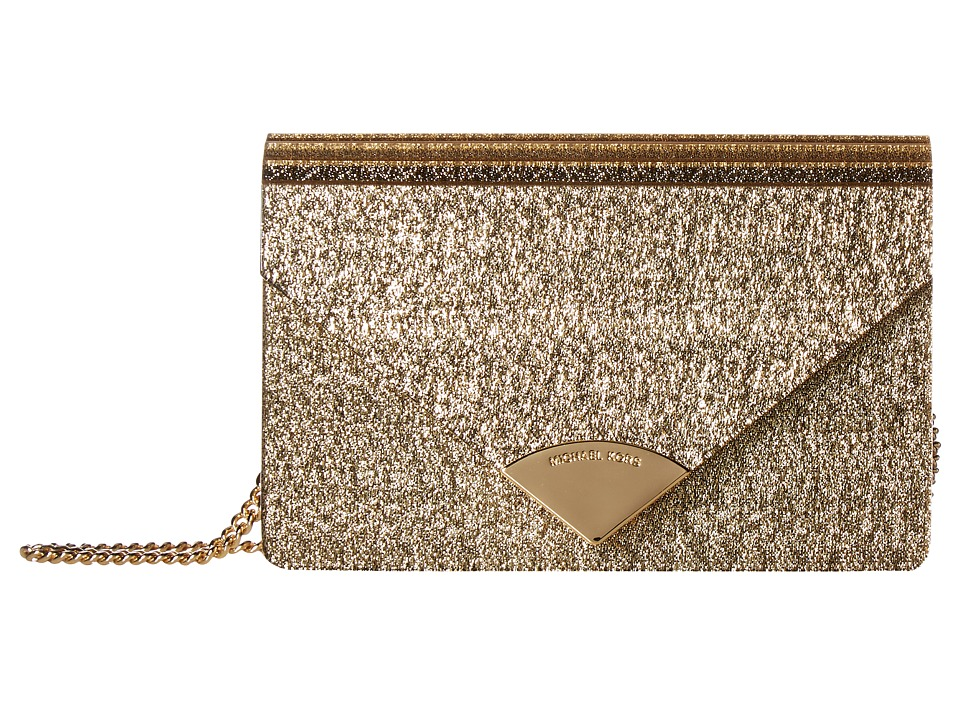 MICHAEL Michael Kors Barbara Medium Envelope Clutch (Gold) Clutch Handbags