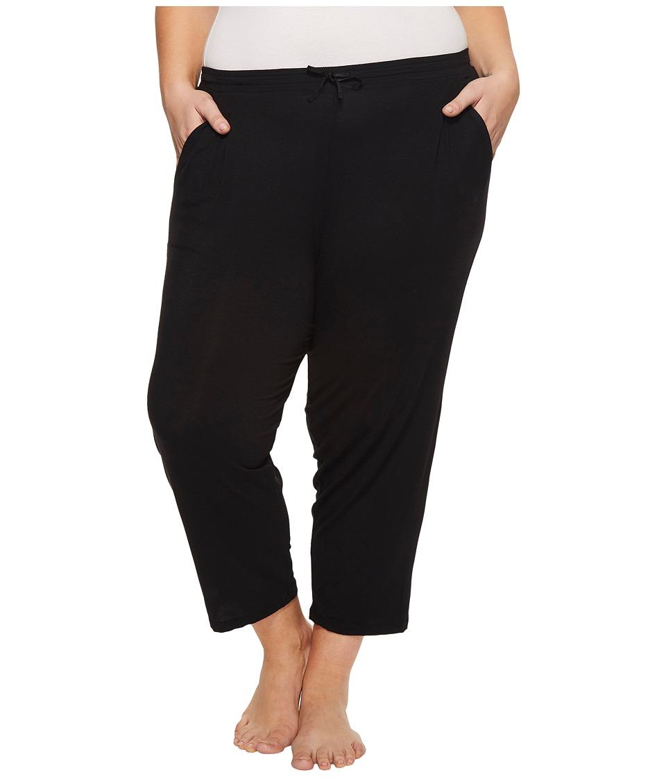 Donna Karan Plus Size Modal Spandex Jersey Capri Pants (Black) Women