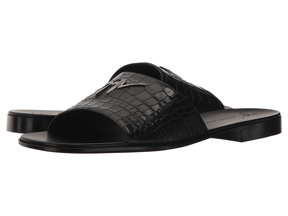 Giuseppe Zanotti - Zak Stamped Croc Sandal (Black) Men's Sandals