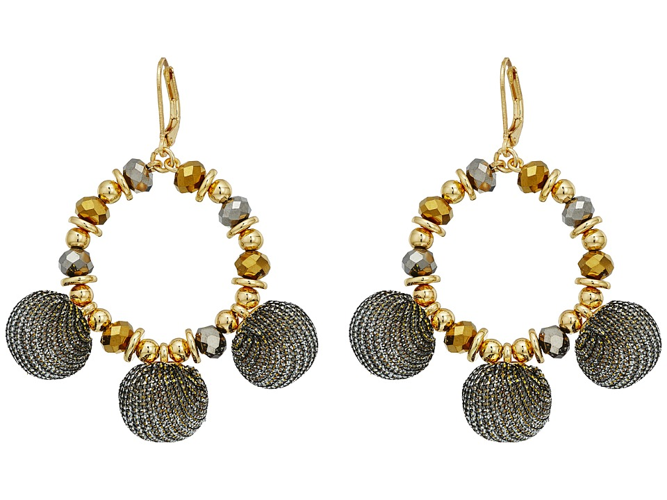 Rebecca Minkoff - High Shine Pompom Chandelier Earrings (Gold) Earring