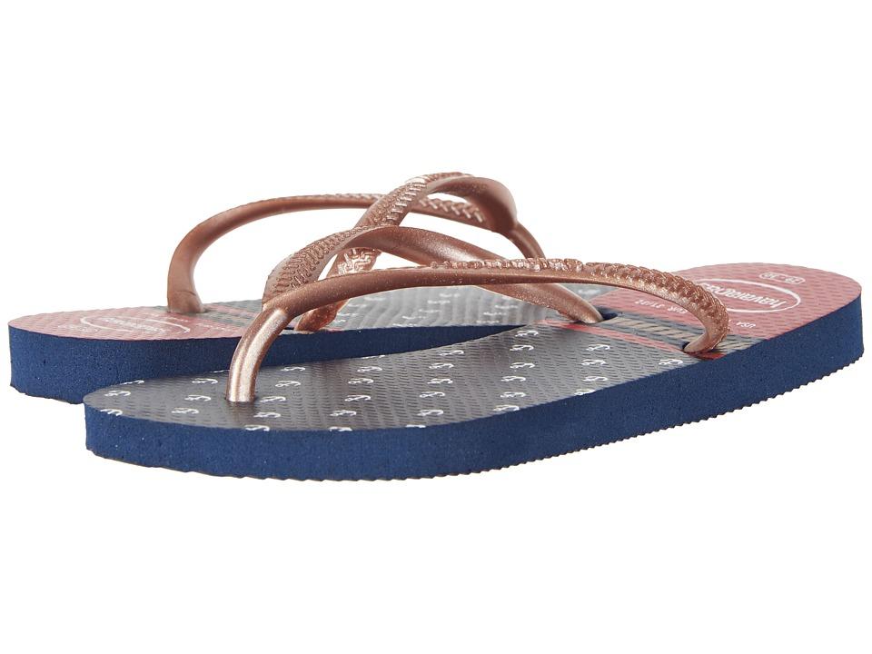 Havaianas Kids - Slim Nautical Flip-Flop (Toddler/Little Kid/Big Kid) (Navy Blue/Red) Girls Shoes