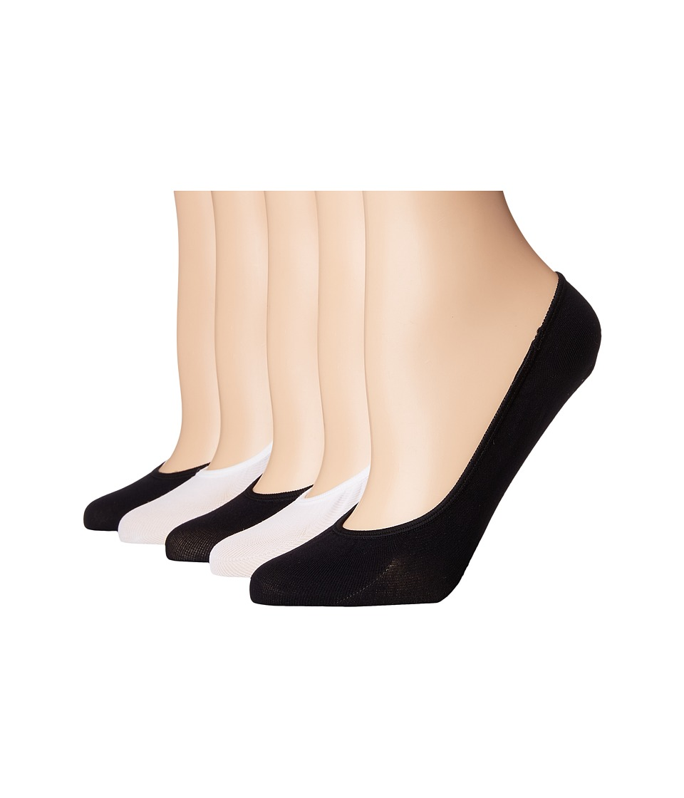 Steve Madden - 5-Pack Microfiber Solid Footie (Black/Nude/White 1) Womens No Show Socks Shoes